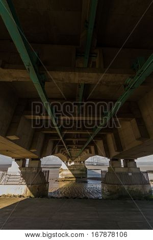 Underside Of The Second Severn Crossing, Bridge Over Bristol Channel Between England And Wales. Five