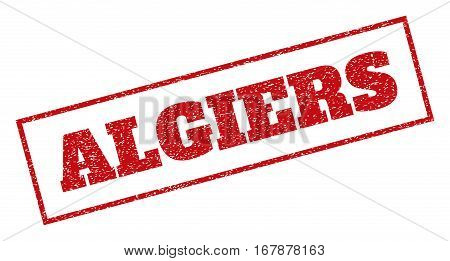 Red rubber seal stamp with Algiers text. Vector message inside rectangular shape. Grunge design and dust texture for watermark labels. Inclined emblem.