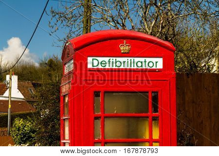 Defibrillator Housed In Uk Red Telephone Box.