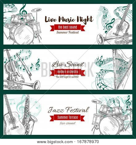Music jazz festival banners set with musical instruments sketch. Vector acoustic guitar and piano with violin bow, sax or saxophone and clef note stave, harp and trumpet, maracas and drums kit with cymbals for jazz live sound concert