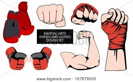 MMA or boxing red gloves hand design element set. Mixed martial arts collection. Fighting fist emblem or logo idea. Vector athletic hands icon
