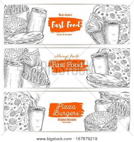Fast food burgers, snadwiches, desserts, drinks. Vector sketch set of cheeseburger or hamburger, pizza and hot dog with sausage and french fries snack, sweet popcorn and ice cream, coffee or soda cup design for fastfood delivery or takeaway