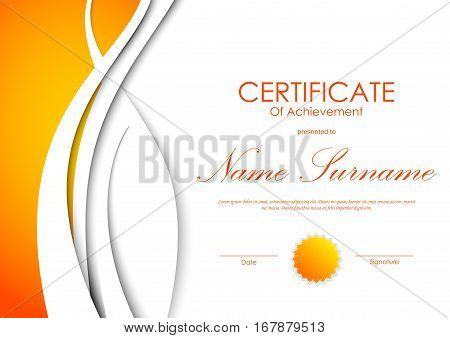 Certificate of achievement template with orange and white wavy light background and seal. Vector illustration