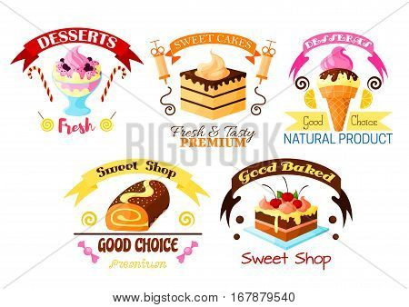Pastry dessert icons set. Vector sweet ice cream, fruit cake and cupcake with fruits, glazed vanilla tart with whipped cream, chocolate roll pie. Vector candy, lollipop, marmalade fondant, ribbons for bakery, patisserie or confectionery shop badge