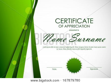 Certificate of appreciation template with green cut paper wavy background and seal. Vector illustration