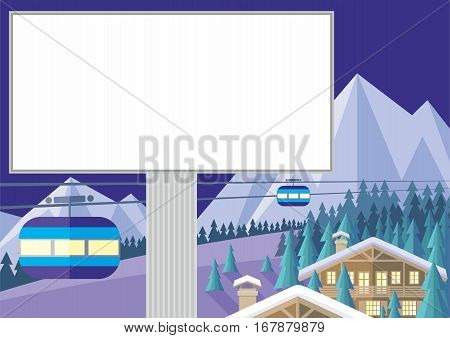 The image is a wooded mountain slope, the Chalet and the cable car. Beautiful winter landscape. Vector background.
