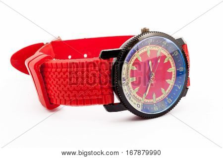 men's watch in red on a white background