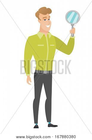 Caucasian business man holding hand mirror. Full length of business man looking at himself in a hand mirror. Business man with hand mirror. Vector flat design illustration isolated on white background