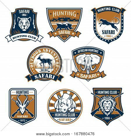 Hunting sport club heraldic icons. Jumping panther and head on shield, rhino and rhinoceros with ribbon, capra or mountain goat and elephant with trunk, roebuck or roe deer and lion with crossed guns or rifles.Safari and jungle nature, heraldry theme