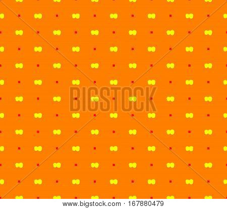 Abstract seamless yellow background red squares and yellow ribbons lined in rows to form a continuous pattern