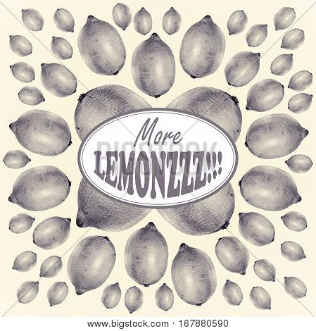 Illustration with lemons drawn by hand with colored pencil and with logotype in center. Drawing with crayons. Fresh tasty fruits painted from nature. Tinted black and white