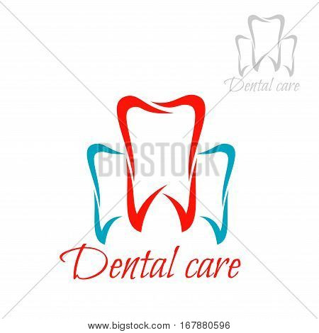 Dentistry emblem and tooth icon. Vector isolated teeth symbols for dentist or stomatology dental care surgeon clinic. Red blue sign of healthy tooth and gum with for stomatologist and odontology, tooth paste or products design