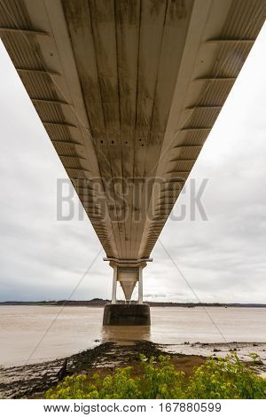 Underside Of The Older Severn Crossing, Suspension Bridge Connecting Wales With England.