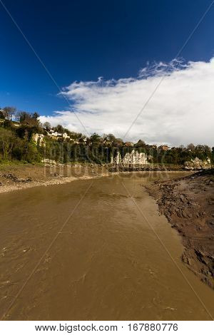 The tidal River Wye muddy at Chepstow.