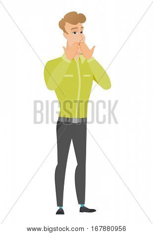 Shoked caucasian businessman covering his mouth with hand. Full length of shoked businessman. Businessman with a shocked facial expression. Vector flat design illustration isolated on white background
