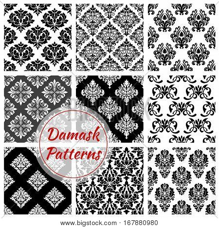 Damask flowery pattern set of ornate baroque seamless vector floral embellishment motif and flourish ornamental tracery. Luxury royal flowers adornment backdrop tiles for interior design poster