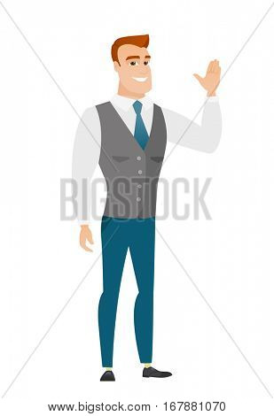 Young caucasian businessman waving his hand. Full length of businessman waving his hand. Businessman making greeting gesture - waving hand. Vector flat design illustration isolated on white background