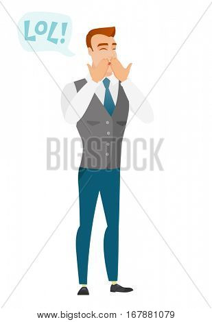 Young businessman laughing out loud. Businessman and speech bubble with text - lol. Businessman laughing out loud and covering his mouth. Vector flat design illustration isolated on white background.