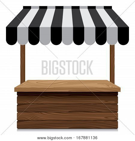 Wooden market stall with black and grey awning on white background.