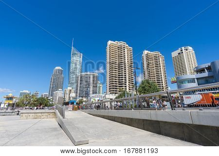 Gold Coast, Australia - September 22, 2016: View of cityscape at Surfers Paradise during daytime.