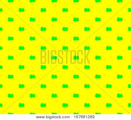 Abstract seamless yellow background green flowers are laid out in rows and form a pattern