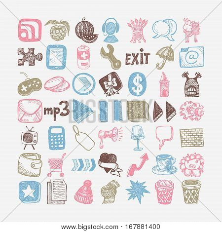 49 hand drawing doodle different icon set, sketchy vector illustration