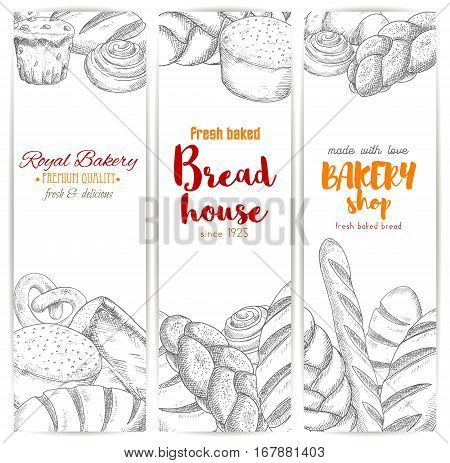 Bread sketch banners. Bakery vector bread sorts wheat bagel, white wheat toast bread, rye loaf brick or loaf, sweet sesame roll bun and croissant, braided bread and cupcake, fresh baked pretzel and crunch pie. Design for premium pastry baker shop poster