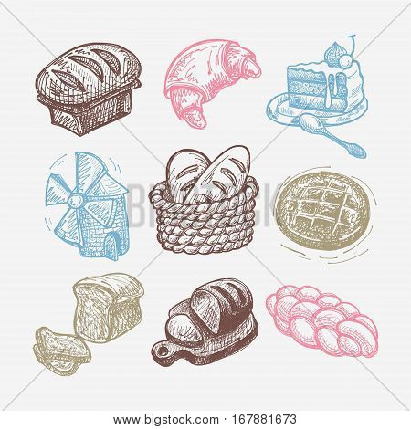 digital drawing bakery icon set, sketchy vector illustration collection
