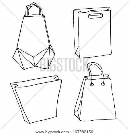 Various eco bags. Shopping bags, innovative origami bag, paper bags. Vector package set.