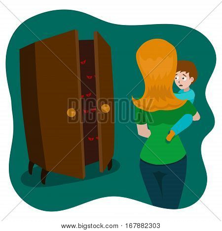 Child afraid of monsters in the room hand drawn vector illustration. Cartoon style