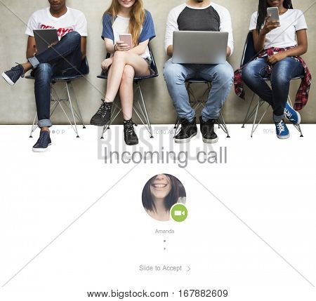 Incoming Call Video Communication Concept