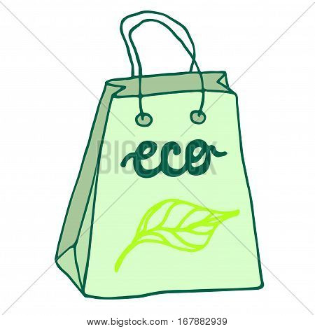 Eco friendly bag with handles. Reusable package.