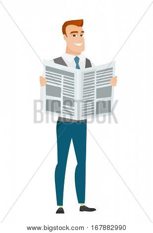 Caucasian business man reading newspaper. Happy business man standing with newspaper in hands. Business man reading good news in newspaper. Vector flat design illustration isolated on white background