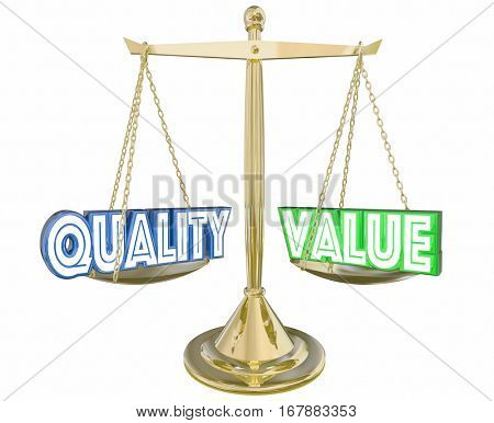 Quality Vs Value Best Product Scale Balance 3d Illustration