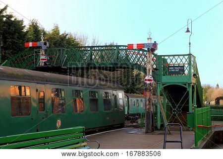 Alresford, Uk - Jan 28 2017: Railway Carriages, Signals And Footbridge At Alresford Station, On The