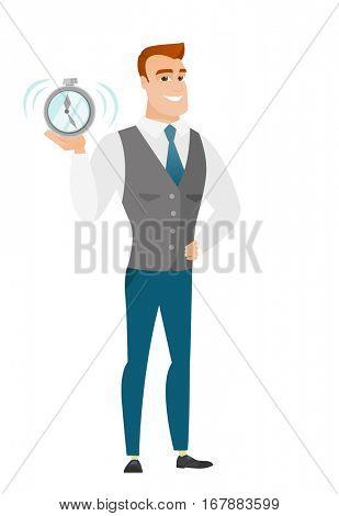 Caucasian business man showing ringing alarm clock. Full length of business man with alarm clock. Happy business man holding alarm clock. Vector flat design illustration isolated on white background