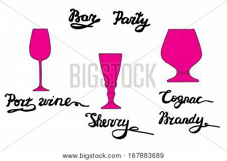Port wine glass, Sherry glass, Cognac, Brandy glass. Vector set