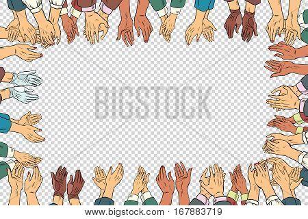 Clap hands frame a business concept, applause. Vintage pop art retro vector illustration. Isolate businessman and businesswoman