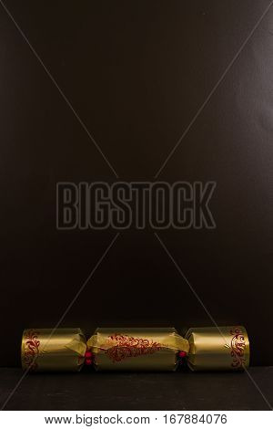 Gold Christmas Cracker With Blank Space Above.