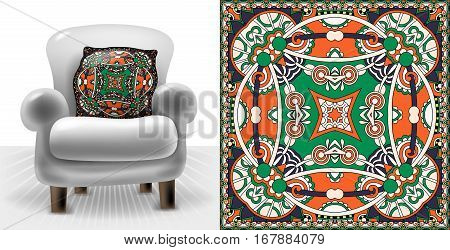 east square carpet pattern for interior cushions, perfect for home prints design, decorative vector illustration eps10