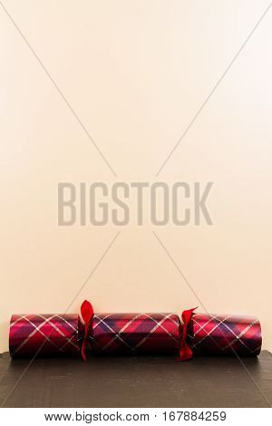 Tartan Christmas Cracker With Blank Space Above.
