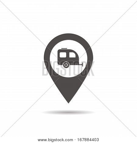 Trailer parking spot icon. Drop shadow silhouette symbol. Pinpoint mark with trailer. Negative space. Vector isolated illustration