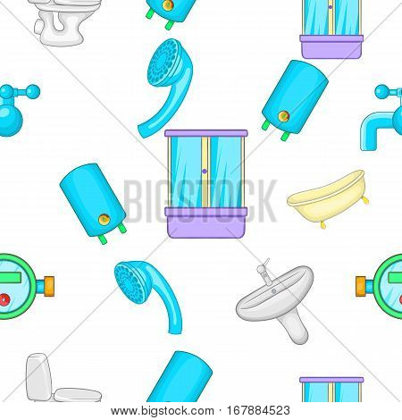Bathroom pattern. Cartoon illustration of bathroom vector pattern for web