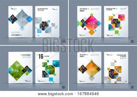 Business vector template. Brochure layout, cover modern design annual report, magazine, flyer in A4 with colurful rectangles, geometric shapes for business, tech with abstract texture background.