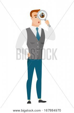 Shoked businessman with magnifying glass. Full length of businessman with magnifying glass. Businessman looking through a magnifying glass. Vector flat design illustration isolated on white background