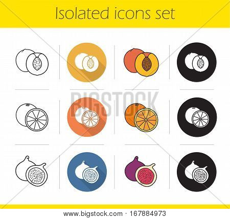 Fruit icons set. Flat design, linear, black and color styles. Halved apricot, open orange, cutted common fig. Isolated vector illustrations