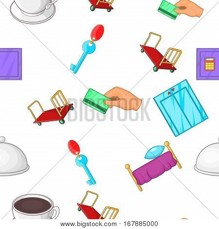 Hostel pattern. Cartoon illustration of hostel vector pattern for web