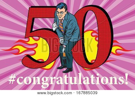 Congratulations to the 50 anniversary event celebration. Happy man opens a bottle of champagne. Vintage pop art retro vector illustration