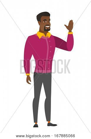 Young african businessman waving his hand. Full length of businessman waving his hand. Businessman making greeting gesture - waving hand. Vector flat design illustration isolated on white background