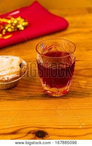 Glass Of Sloe Gin With Mince Pie